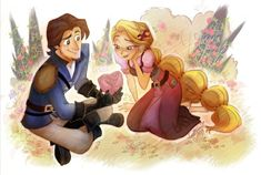 Describe a romantic date for Rapunzel and Eugene 😍❤💏🍳☀🐸👑 . Beautiful art by Disney Rapunzel, Tangled Rapunzel, Princess Rapunzel, Disney Princesses, Deco Disney, Disney Love, Disney Art, Punk Disney, Disney And Dreamworks