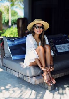 Sincerely Jules: white beach cover up and Hermes Oran Gold Brown Sandals