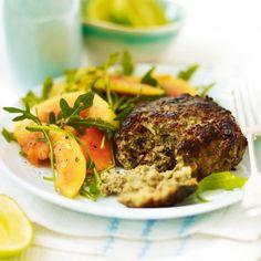 Coriander and lemongrass pork burgers with rocket and papaya salad - Woman And Home