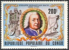 Pipe Organs of the World on Postage Stamps: Congo    Johann Sebastian Bach