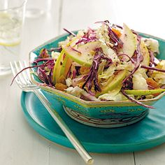 Red Cabbage and Apple Salad With Ginger Vinaigrette    Overindulged last night? Make amends with this crunchy #raw-food salad, full of detoxifying ingredients like cabbage and ginger.