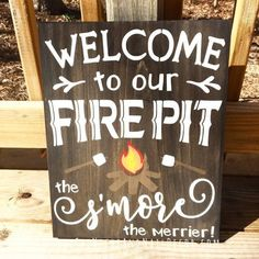 Welcome To Our Fire Pit, Outdoor Home Decor, Wedding Gift, Outdoor Signs, Campfire Sign, Rustic Wood Sign, Wedding Sign