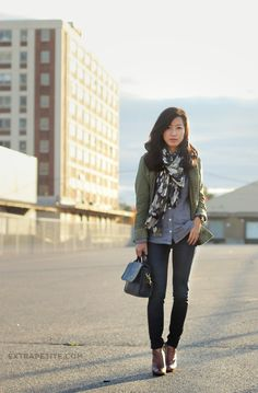 Winter casual: Army jacket, ankle boots