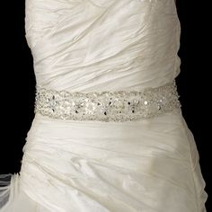 Glamorous Rhinestone Beaded Wedding Belt Sash - Affordable Elegance Bridal -
