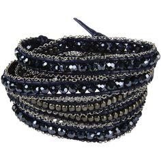 Nakamol Bracelet ($54) ❤ liked on Polyvore featuring jewelry, bracelets, dark blue, leather bangle, leather jewelry, adjustable bangle, nakamol and nakamol jewelry