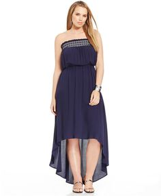 Plus Size Strapless High-Low Maxi Dress