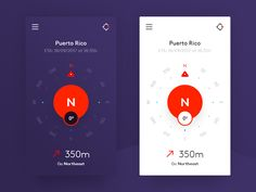 Compass App Design by Luka Cvetinovic Compass App, Compass Design, Moon Calendar, App Ui, Ui Ux Design, Material Design, User Interface, Product Design, Mobile App