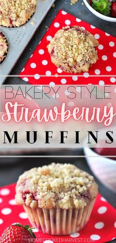 These fluffy Bakery Style Strawberry Muffins are filled with juicy strawberries and topped off with a sweet streusel crumb topping. Strawberry buttermilk muffins pair perfectly with a good cup of coffee or some oj for a quick breakfast bite. These easy strawberry muffins will quickly become your favorite fruit muffins. Strawberry Muffin Recipes, Strawberry Breakfast, Strawberry Muffins, Strawberry Desserts, Best Breakfast Recipes, Sweet Breakfast, Easy Breakfast Muffins, Breakfast Time, Breakfast Ideas