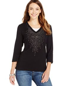 Karen Scott Studded Three-Quarter Sleeve Top - Tops - Women - Macy's