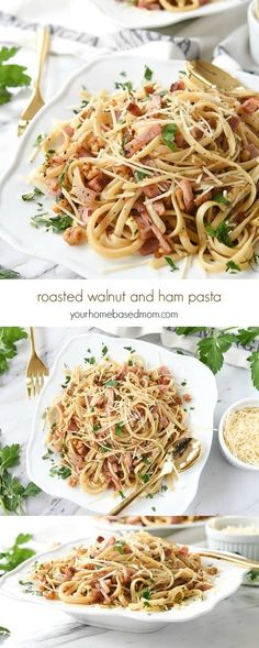 Roasted Walnut and Ham Pasta is easy to make and the perfect solution for leftover ham.