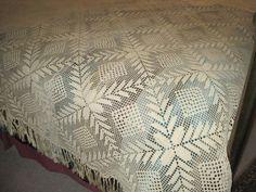 Crochet Bedspread | Vintage Hand Crocheted Bedspread by FriedasAttic on Etsy
