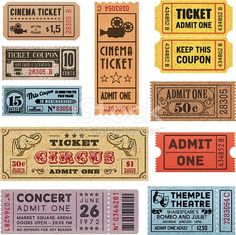 Illustration of A collection of 11 vector grunted Tickets, Vector file is organized with layers, with every ticket divided into 3 layers, separating Background Shape from the texture effect and text. vector art, clipart and stock vectors. Free Vector Graphics, Free Vector Art, Vector File, Grunge, Admit One Ticket, Ticket Check, Cinema Ticket, Tsumtsum, Movie Tickets