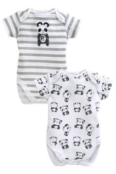 Buy Two Pack Grey Panda Bodysuits (0-12mths) from the Next UK online shop