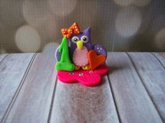 Polymer Clay Party Birthday Owl Cake Topper by UntamedClayground, $10.00