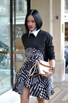 Tiffany Hsu Paris-time again having a black and white moment that is stunning tip to frakkin toe
