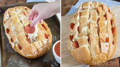 It's a little messier, but pull-apart pizza bread is the way to get more cheese in your face
