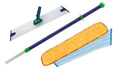 Norwex mop kit. Reusable dry cloth to pick up dust.  Reusable wet cloth to clean.  And no chemicals!  These microfiber cloths clean using only water!    The pads are statically charged and will pick up the smallest particles of dirt, dust, pet hair, crumbs and micro particles.