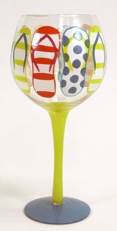 "Hand Painted ""Flip Flop"" Wine Glass, Holds 18 Oz by Glasses, Wine Glass Crafts, Wine Craft, Wine Bottle Crafts, Bottle Art, Diy Wine Glasses, Decorated Wine Glasses, Hand Painted Wine Glasses, Decorated Bottles, Painted Bottles"
