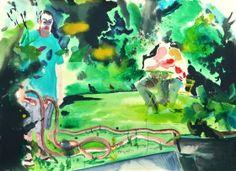 Jean-Xavier Renaud, Arrose La Pelouse, 2015, Watercolor