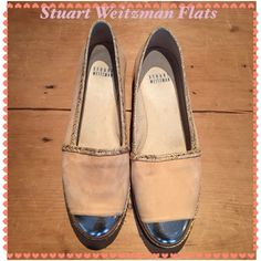 Stuart Weitzman Flats These Stuart Weitzman flats are Suede with a metallic silver toe and woven piping. Stuart Weitzman Shoes Flats & Loafers