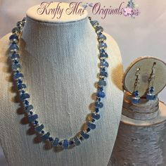 Blue Quartz And Crystal Necklace Set 1