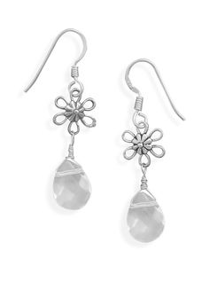 Clear Glass and Flower Bead Earrings