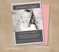 "LDS Baptism Photo Invitation (Digital or Printed)- ""dainty gray"""