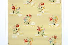 RESIDUO della tappezzeria Vintage, - 60 pollici pezzo singolo Segmant di cucina floreale carta da parati con fiori di Orage su giallo e rosso blu