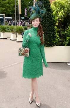 Stardust and Indian Summers actress Olivia Grant looked lovely in a green lace dress with ...