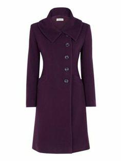 Minuet Petite Plum bardot neck coat #Coatwalk