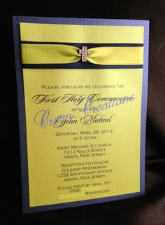 Navy & Lime Layered 1st Communion Invitation with by CravoCreation, $2.50