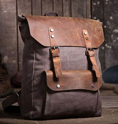 MATERIAL 100% Genuine Leather Canvas SIZE high: 12.6''inches/32cm width: 16.9''inches/43cm thick: 3.9''inches/10cm WEIGHT...