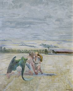 Jacek Malczewski - Angel and a shepherd boy (1908)