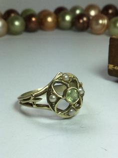 Seed Pearl & Peridot Green Gold Ring - Conversion - 14kt - Size 4