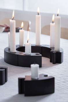 November 2019, Wonderful Time, Candles, Mini, Winter, Christmas, Different Shapes, Snow Flakes, Candle Holders