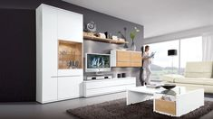 Frisch Wohnzimmermöbel Weiß Mit Holz
