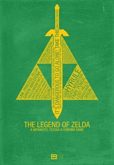 The Legend of Zelda Typography /// by Kody Christian /// For sale on Society6.com