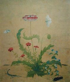 "Print of 'Poppy"" an original work painted by Shin Sa-im-dang (1512-1559)"