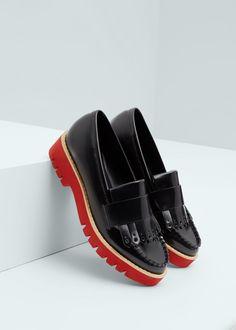 Contrast platform shoes - Shoes for Women Sock Shoes, Shoe Boots, Shoe Bag, Shoes Heels, Small Heel Shoes, Mango Shoes, Red Sole, Formal Shoes, Sandals