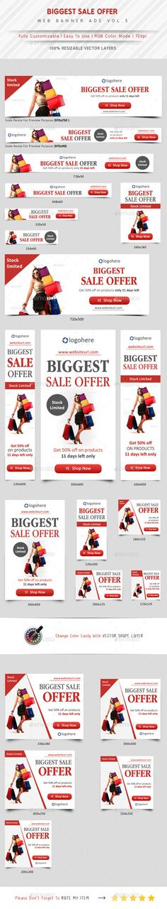 Biggest Sale Offer Web Banner Template #design Download: http://graphicriver.net/item/biggest-sale-offer-web-banner-vol5/11337245?ref=ksioks