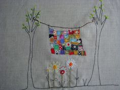 Lovely embroidery on Rainbow quilt WIP by Krista. Freehand Machine Embroidery, Free Motion Embroidery, Free Machine Embroidery, Embroidery Applique, Embroidery Stitches, Embroidery Patterns, Quilt Patterns, Machine Quilting, Block Patterns