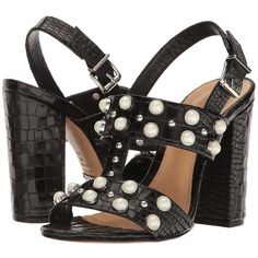 Schutz Zarita (Black) Women's Shoes ($183) ❤ liked on Polyvore featuring shoes, sandals, black high heel shoes, black t strap sandals, embellished sandals, black leather sandals and black slingback sandals