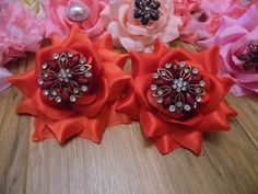 Stunning  Pair 2 Red Fabric Rose Vintage by gypsycowgirlchic