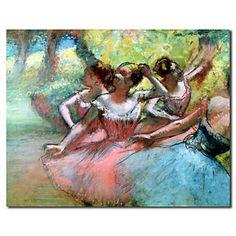 handgeschilderde olieverfschilderijen mensen vier ballerina's op het podium met gestrekte frame klaar om op te hangen – EUR € 98.99