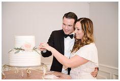 Cutting the Cake at Castle Park Reception Center in Lindon by Utah County wedding photographer Brooke Bakken | LDS Bride and Groom | Modest Wedding Dress | Blush | Cream