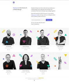 Launching soon page with focus on the all-star team behind an upcoming design organisation tool called 'Abstract'.