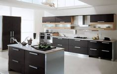 elegant kitchen with black and silver design