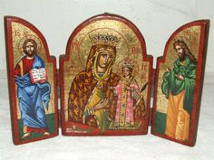 Vintage-Genuine-Hand-Painted-Wooden-Russian-Byzantine-Triptych-Religious-Icon