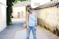 tifmys – One-shoulder top: New Yorker | Boyfriend Jeans and earrings: H&M | Lace-up sandals: Asos | Bag: A.P.C. Half-moon | Watch: Larsson&Jennings | Bracelet: Céline Knot