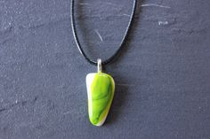 White opaque glass fused pendant by GlassJewelleryByJ on Etsy